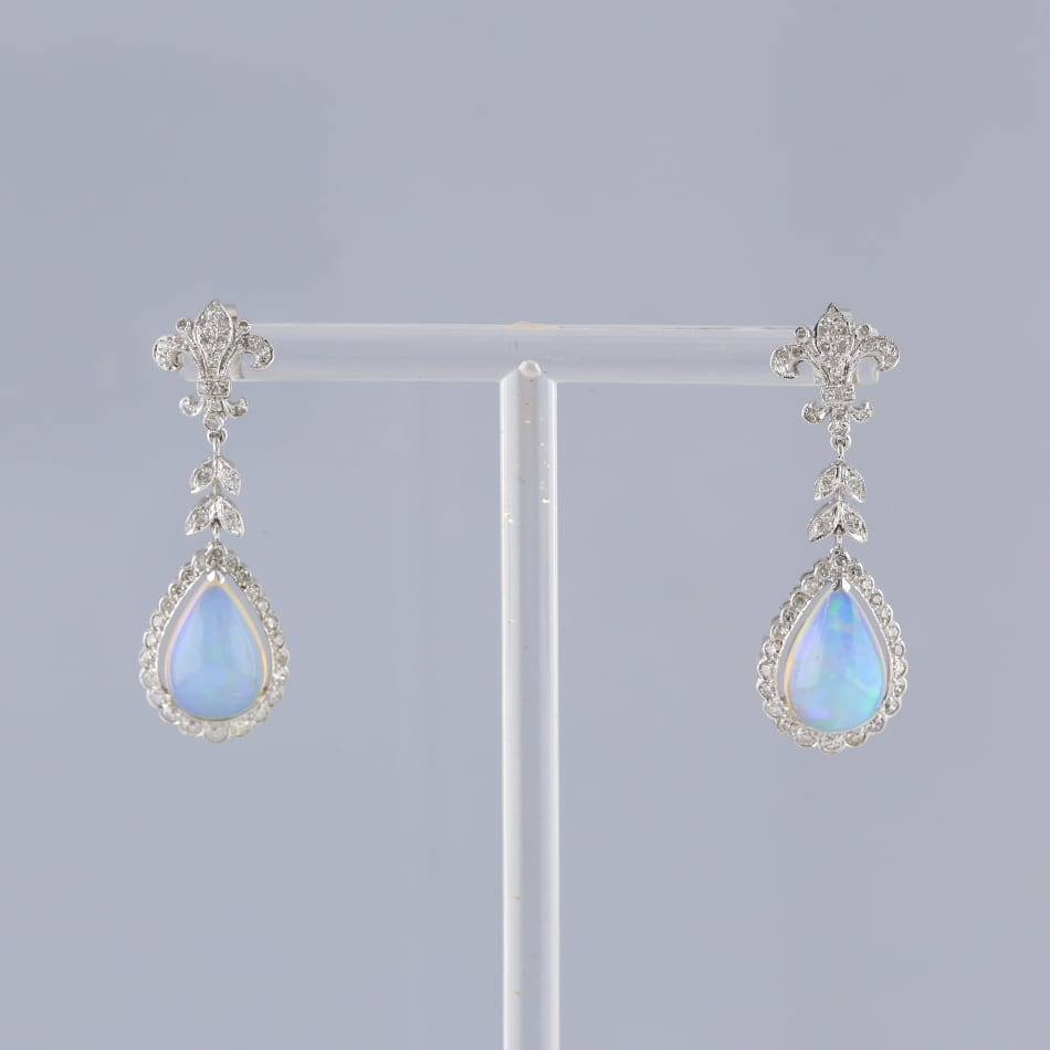 Art Deco Style Earrings Uk Art Deco Style Opal And Diamond Drop Earrings