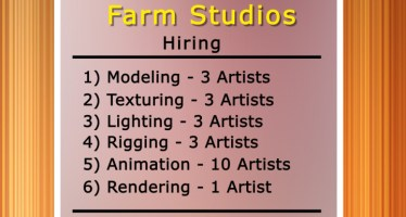 Job Vacancies for Modeling, Texturing, Lighting, Rigging and Animation