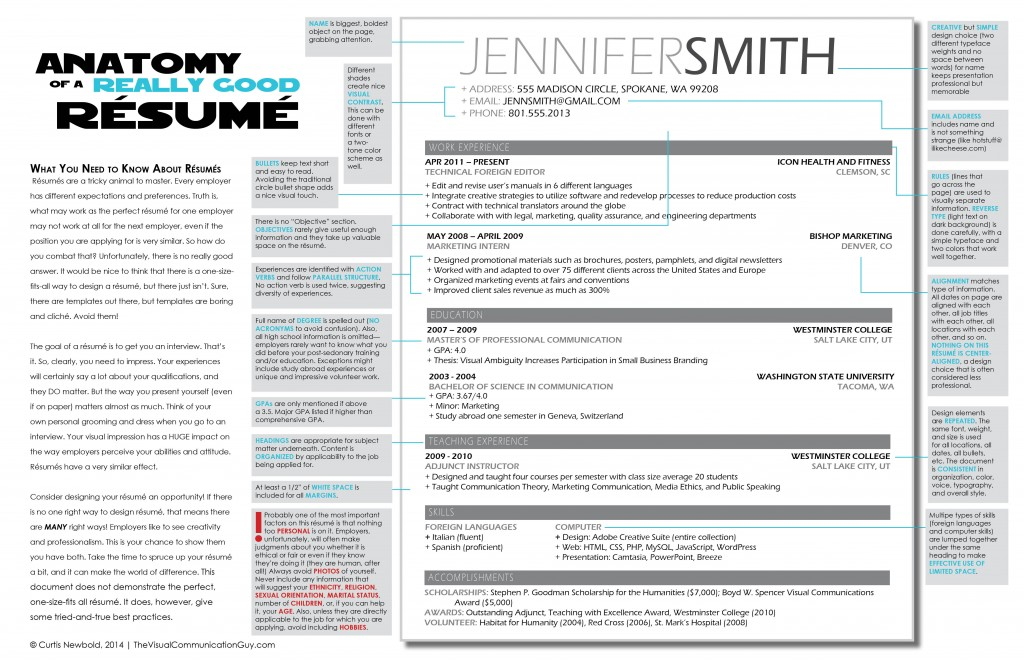 The Anatomy of a Really Good Résumé A Good Résumé Example \u2013 The