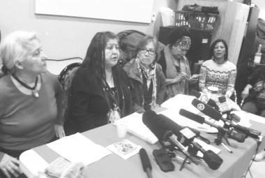 Memorial March Committee news conference, January 12, 2016. L-R: Mabel Nipshank, Fay Blaney, Myrna Cranmer, Carol Martin, Junanita Desjarlais