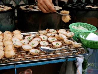 Coconut Rice Cake (Kanom Krok) with Scallion in Bangkok, Thailand