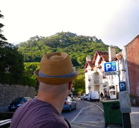 Looking at the Moorish Castle in Sintra, Portugal