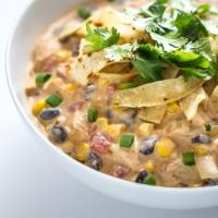 30 Minute Creamy Chicken Enchilada Soup