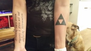 New tattoos freshly after being inked on. The shading on the Triforce hurt a surprising amount!