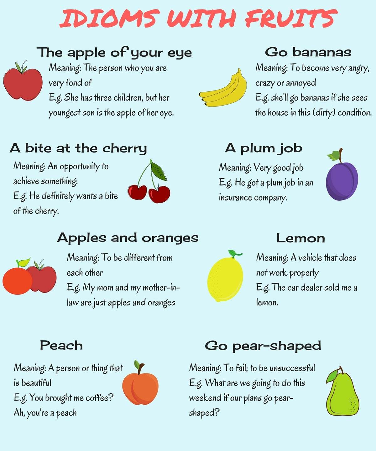Cuisine Meaning English 20 Common Idioms About Fruits In English The Way To