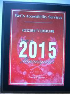 Best of 2015 Minneapolis award placque with WeCo Accessibility Services listed on it.