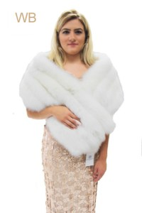 White Fox Fur Shawl  The Wedding Boutique