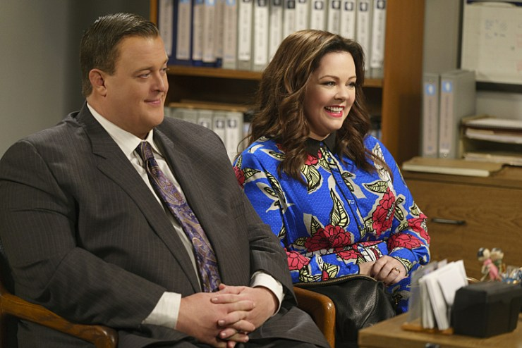 """""""The Adoption Option"""" -- Mike and Molly need everyone to be on their best behavior when the adoption agency schedules a home visit, on MIKE & MOLLY, Monday, May 9 (8:30-9:00 PM, ET/PT) on the CBS Television Network. Pictured L-R: Billy Gardell as Mike Biggs and Melissa McCarthy as Molly Flynn Photo: Hopper Stone/CBS ©2015 CBS Broadcasting, Inc. All Rights Reserved"""