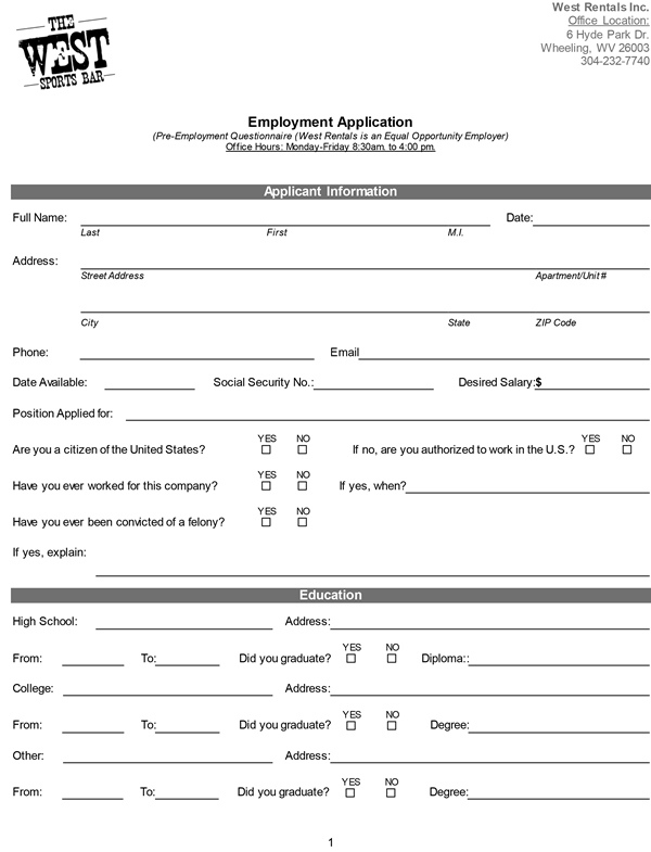 Printable Employment Application - Printable Employment Application