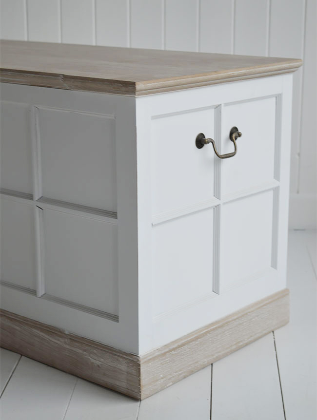 Kids Table Vermont Small White Storage Trunk - White Bedside Table