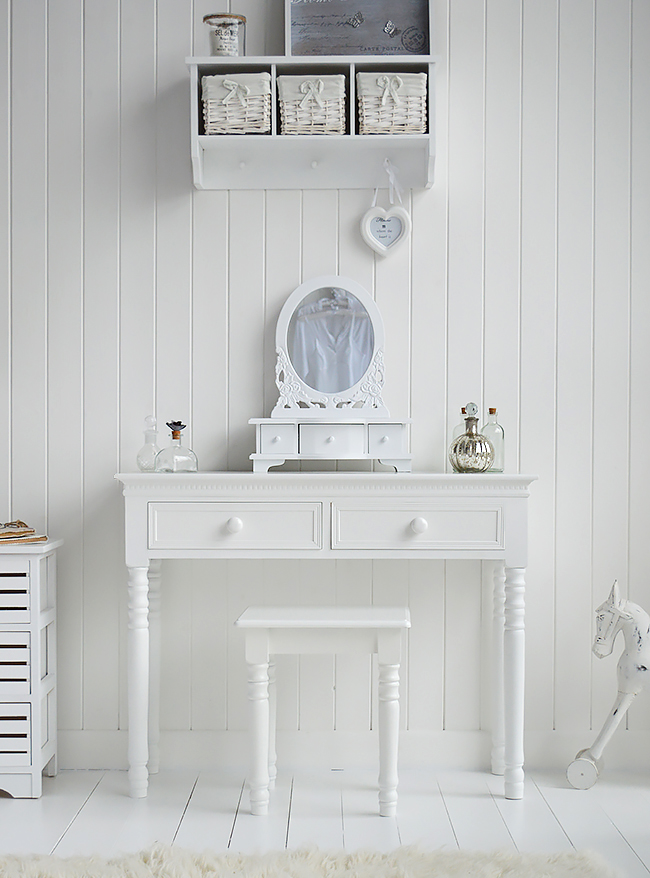 Bathroom Mirror With Storage New England White Dressing Table With Knob Handles. The
