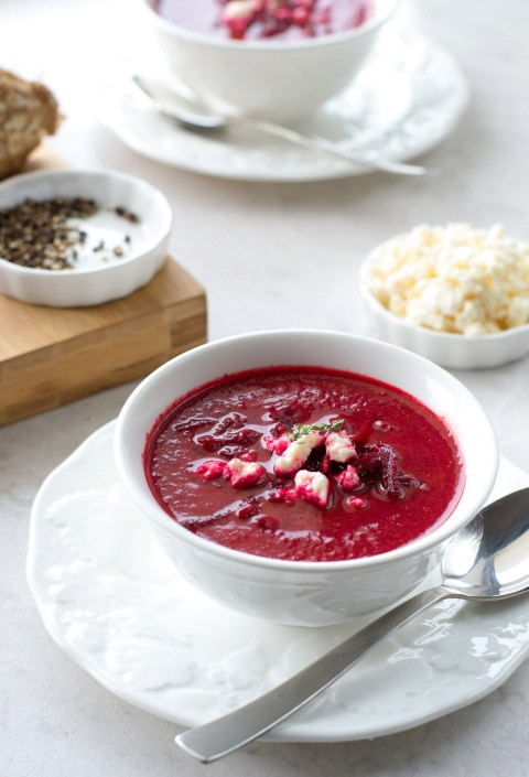 Beetroot & Roasted Tomato Soup With Feta
