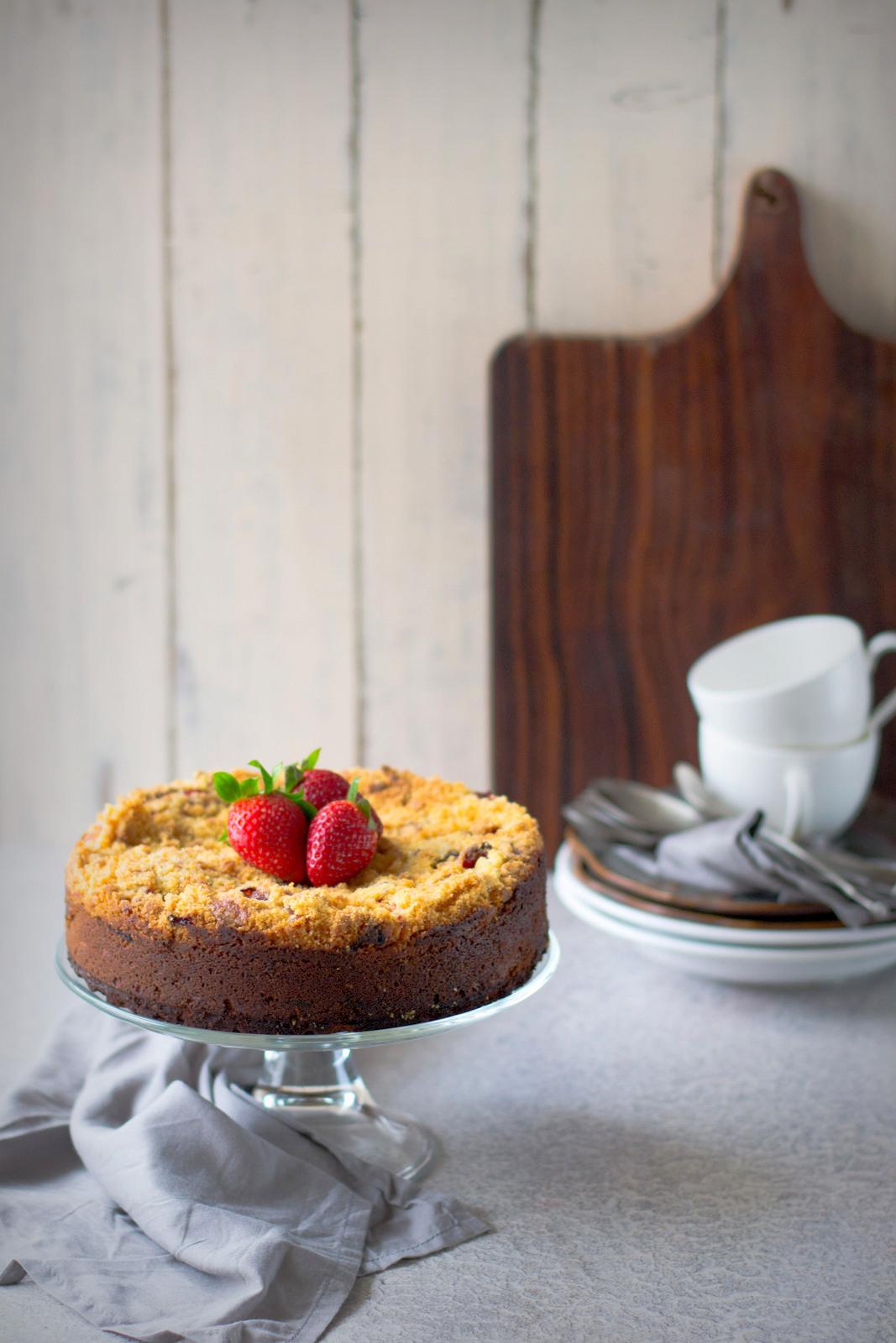 Strawberry Cornmeal Cake