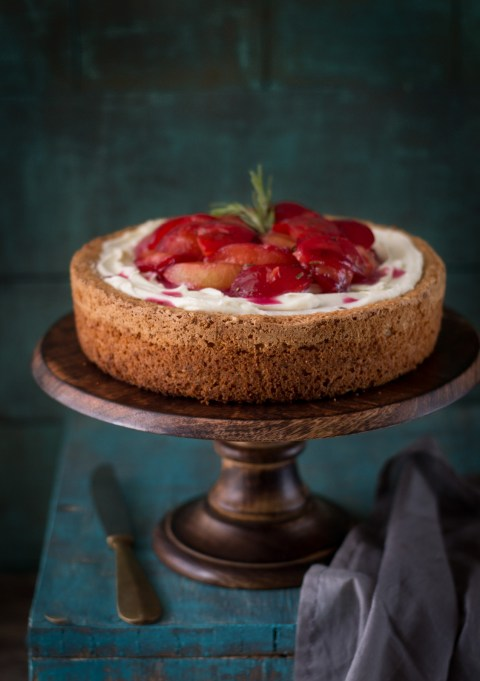 Gluten Free Almond Cake With Rosemary Roasted Plums
