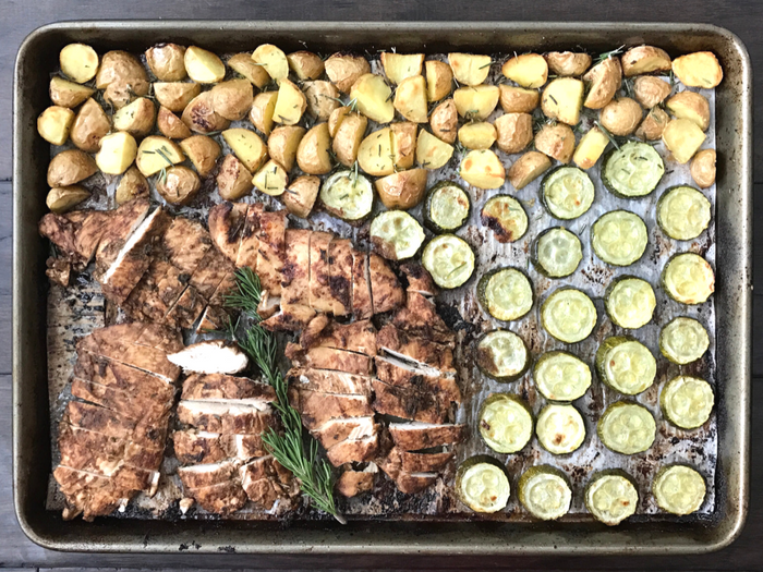 One Pan Garlic Rosemary Chicken Potatoes Zucchini FULL TRAY