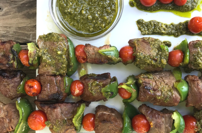 Pesto Steak Kabobs with Blistered Tomatoes & Peppers