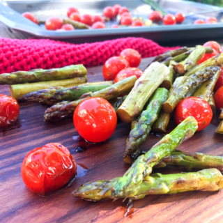Roasted Balsamic Tomatoes & Asparagus
