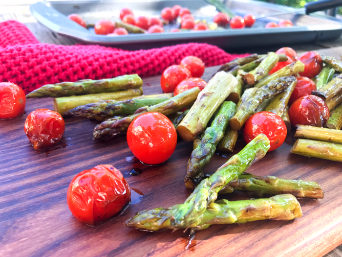 Roasted Balsamic Tomatoes & Asparagus by The Whole Cook HORIZONTAL FEATURE