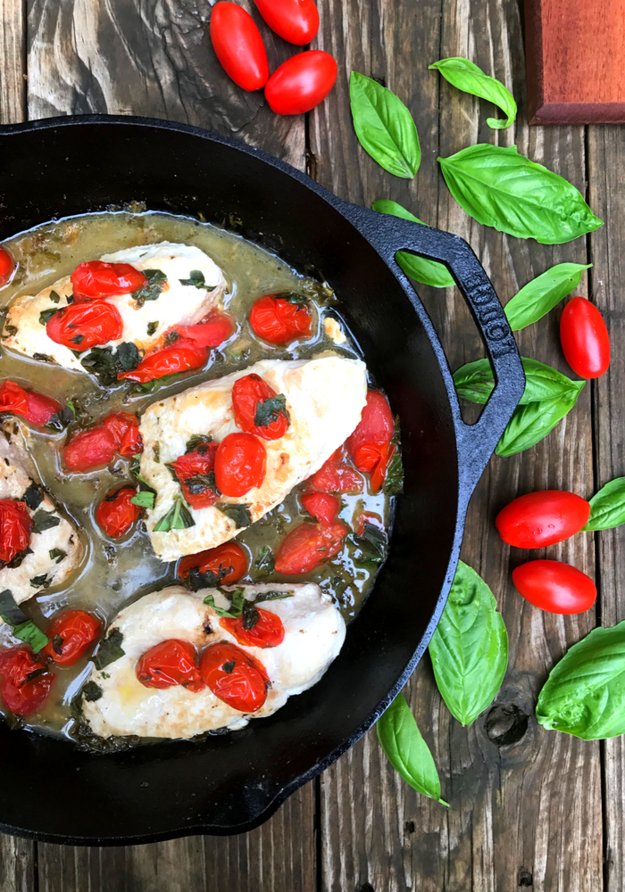 Tomato Basil Skillet Chicken by The Whole Cook VERTICAL FEATURE 1