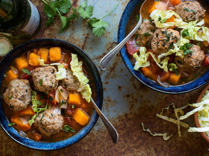 Mexican Meatball Soup with Butternut Squash by The Organic Kitchen