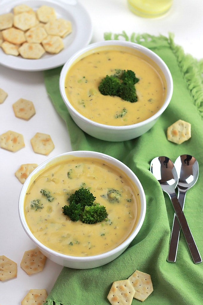 Rich and hearty, this Un-Cheesy Potato Broccoli Soup is full of flavor and comes together in minutes!