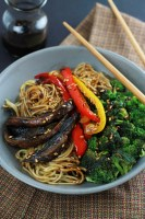 Loaded with hearty portobello, peppers, onions and broccoli, this Spicy Ramen Vegetable Stir-Fry is quick and easy and comes together in under 30-Minutes.