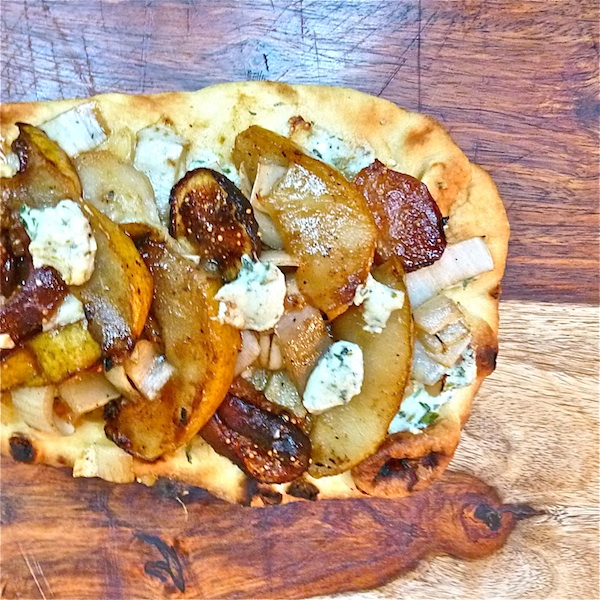 grilled pear, fig, and endive flatbread