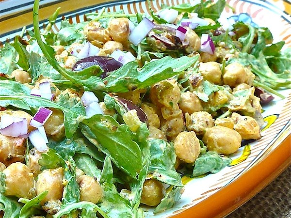 pan-fried chickpeas tossed in curried yogurt dressing