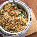 Comforting gratin of wilted chard, onion, quinoa, cheese, milk and breadcrumbs.
