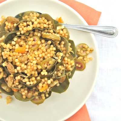 Artichokes Filled with Citrus, Olive, and Raisin Couscous above 400