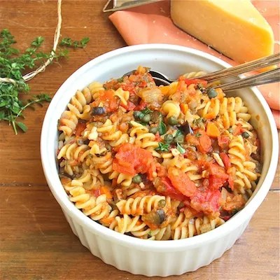 Fusilli with Eggplant, Tomatoes and Capers