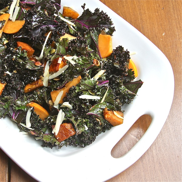 Kabocha and Kale Salad with Persimmons : The Wimpy Vegetarian