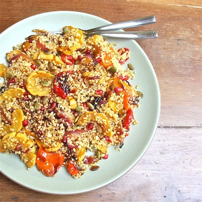 Roasted Squash with Pomegrate and Pepitas Tossed in Quinoa 400
