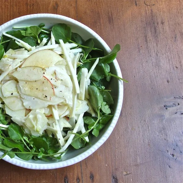 Healthy raw easy salad fennel celery root apple buttermilk yogurt dressing