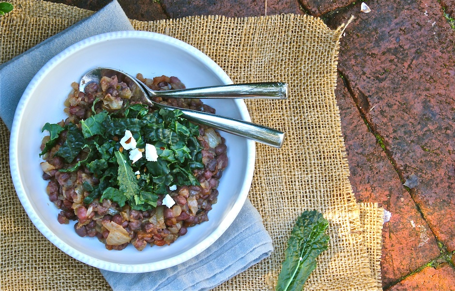 legumes, smoky bacon, miso and kale dish