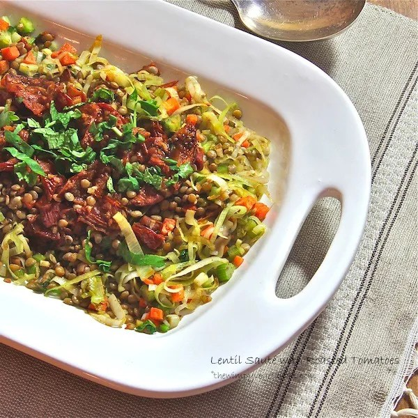 vegan Lentil saute with umbrian lentils, roasted balsamic tomatoes and leeks,