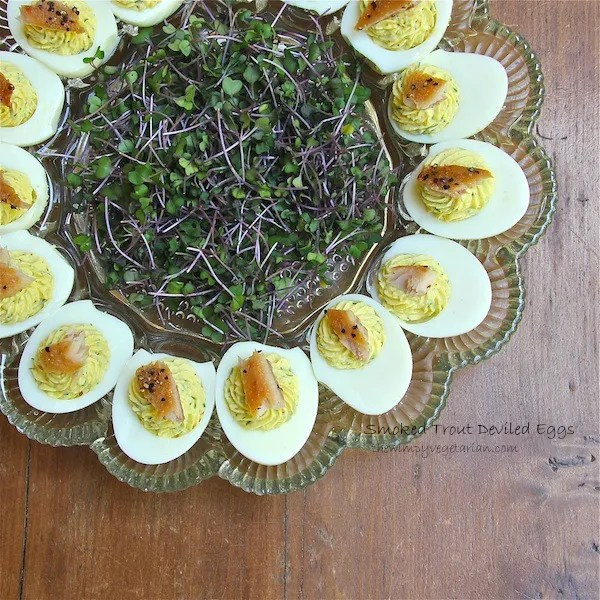 smoked trout deviled eggs, picnic, easy entertaining, recipe