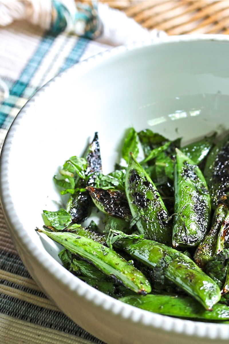 grilled snap peas tossed in fresh mint