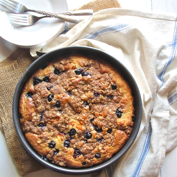 blueberry coffeecake, lightened coffeecake, kid-friendly