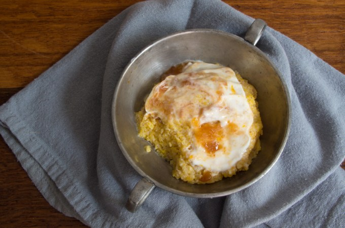 Polenta Cake with Honey Yogurt and Peach Preserves: #SundaySupper