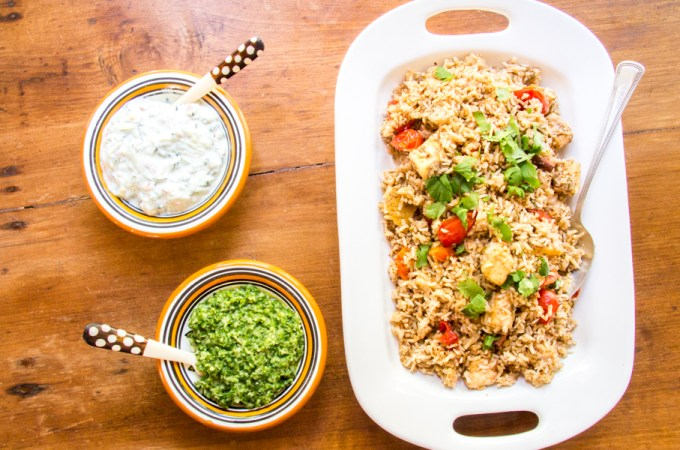 Paneer Biryani with Cucumber Raita