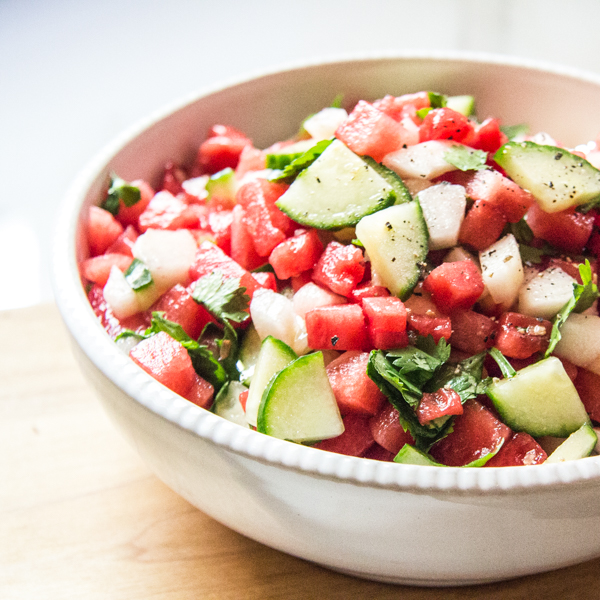 Watermelon, peach, and cucumber salsa with lime