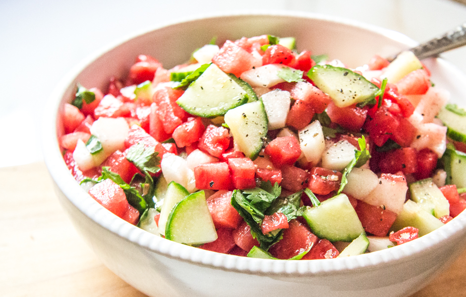 watermelon salad with peaches, cucumbers, and lime.
