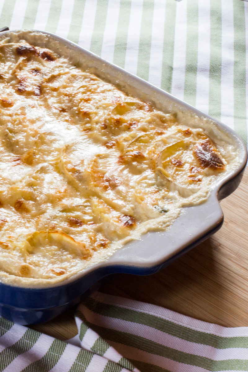 Celery root gratin layered with potatoes, sandwiched with a layer of ...