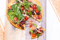 Socca Pizza with Spinach, Tomatoes, Olives and Feta   #SundaySupper