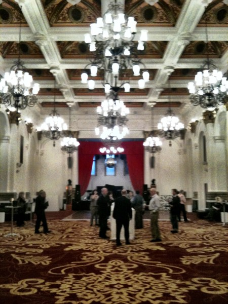 tasting in the ballroom - it's still Bordeaux,standards must be maintained