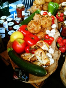 fresh pork pies and veg