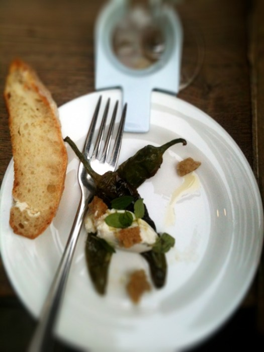 Friggitelli, ricotta, marjoram and croutons (paired with a Masseria Pietrosa Verdeca 2012)