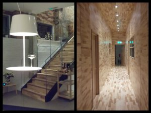 """""""floating table"""" and blonde wood hallway"""