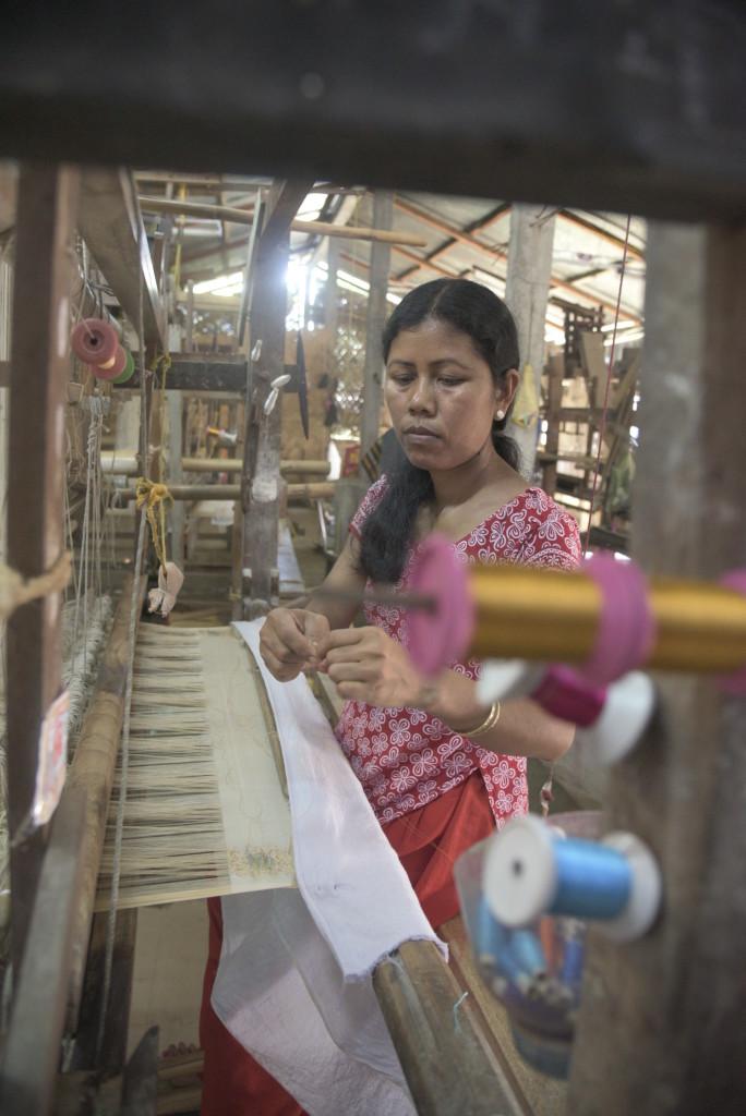 A worker in a weaving 'factory.' Credit: Uddipta Sankar Pathak